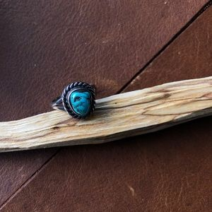 Jewelry - Vintage Turquoise and Sterling Silver Ring Braided
